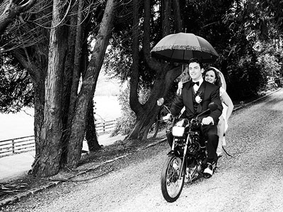 bride and groom motorbike